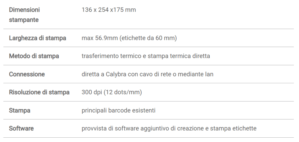 Dettagli Calybra Label